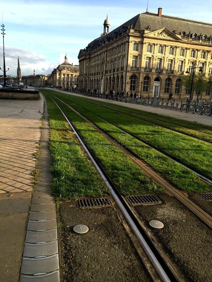 Voies de tram en Bordeaux photo libre de droits