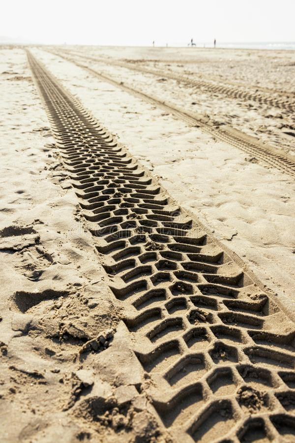 Voies des pneus d'un véhicule motorisé sur la plage, les modèles synthétiques et les structures images libres de droits