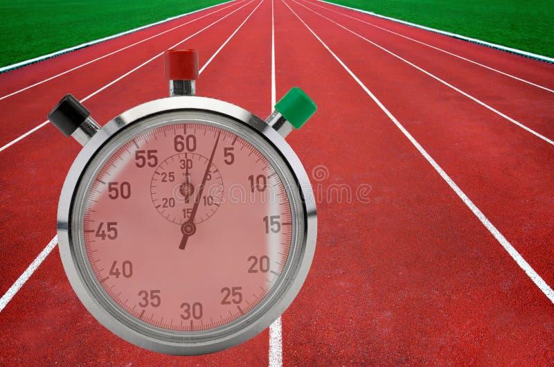 Voies et chronomètre courants image stock