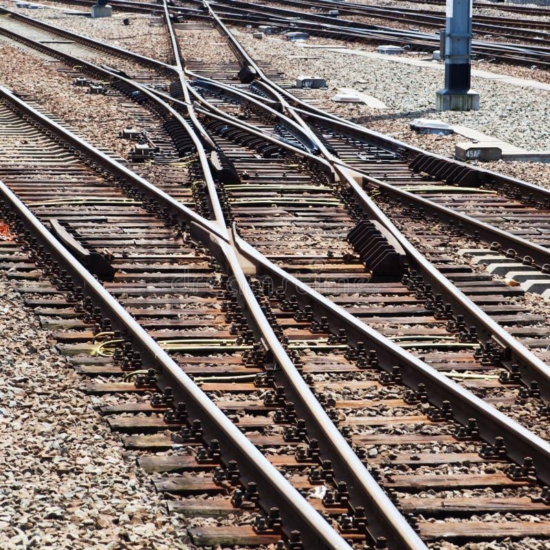 Voies ferroviaires et commutateurs photo stock