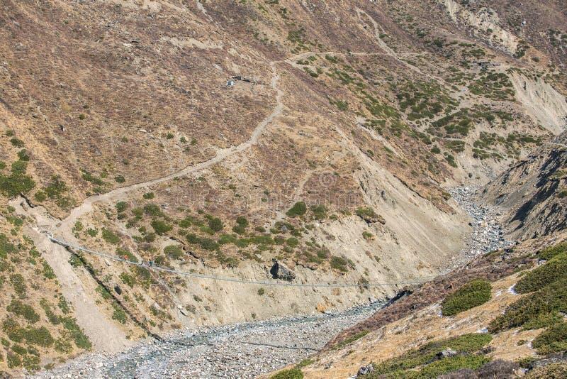 Voies lâches dangereuses de roche des côtés de l'Himalaya images stock