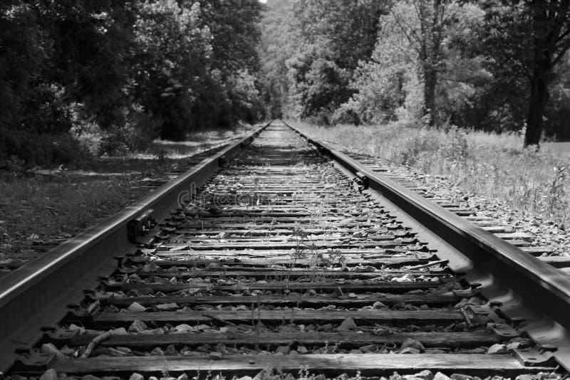 Voies noires et blanches de train photographie stock libre de droits