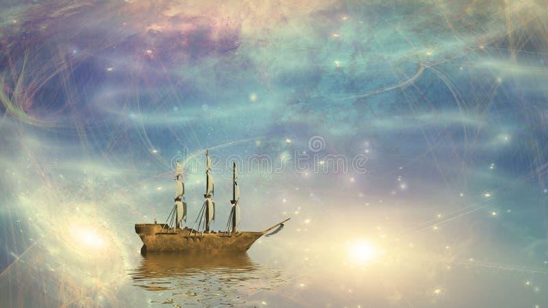 Voiles de bateau de navigation parmi les étoiles illustration libre de droits