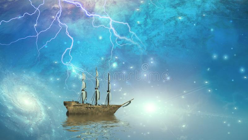 Voiles de bateau de navigation par les étoiles illustration stock