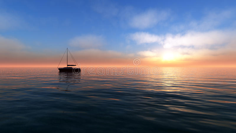 Voiles de coucher du soleil d'imagination illustration de vecteur