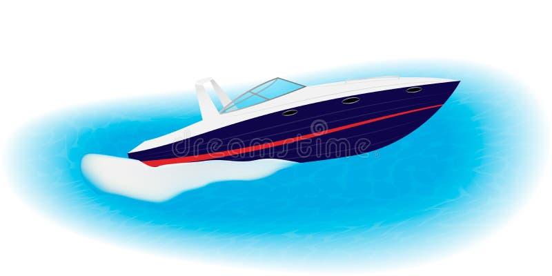 Voiles rapides de canot automobile sur la vitesse par la mer Bateau de luxe pour le repos actif d'isolement sur un fond blanc illustration de vecteur
