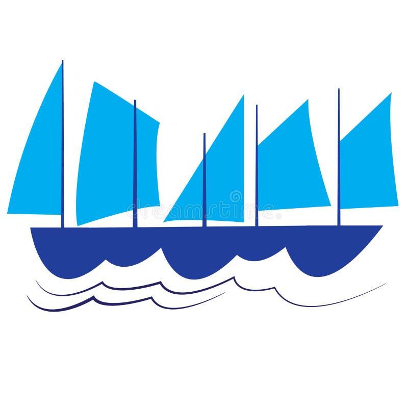 Voiles sur la mer illustration de vecteur