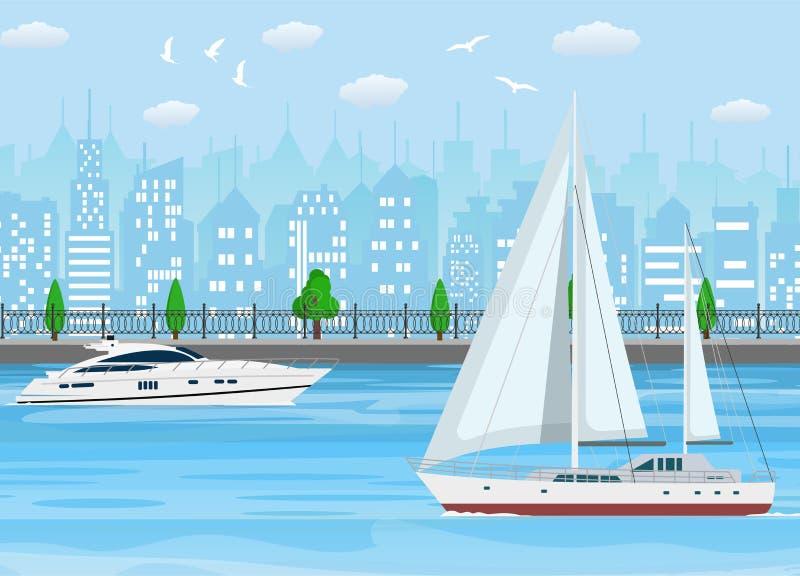 Voilier avec la toile blanche et le yacht moderne illustration libre de droits