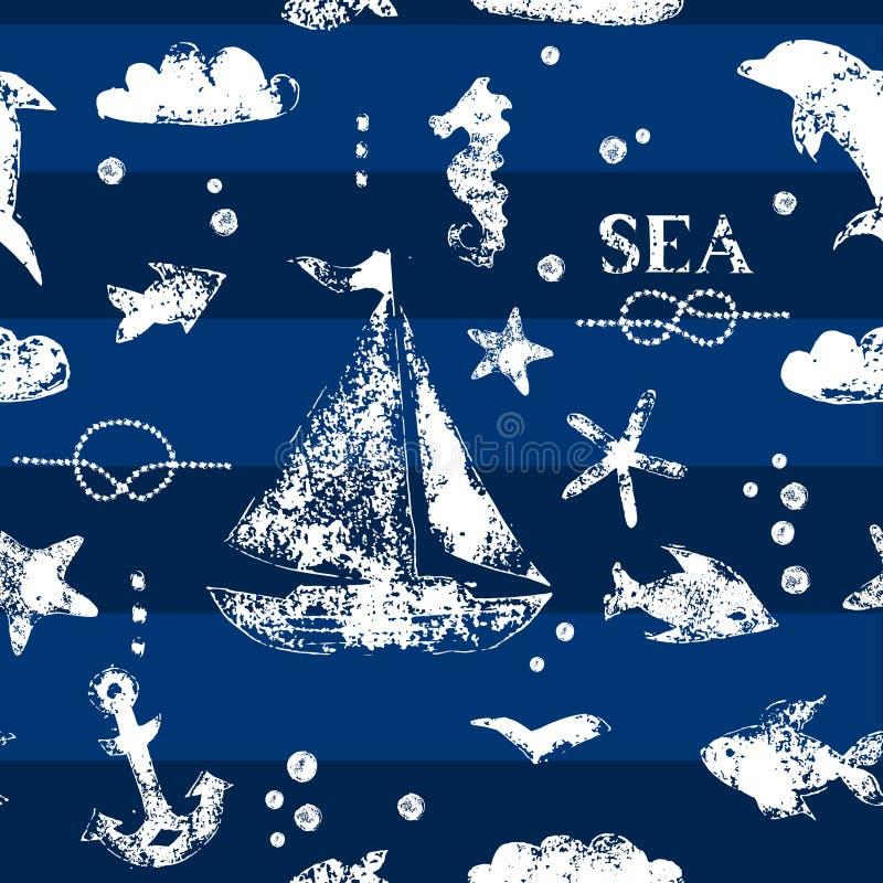 Voilier blanc grunge d'impression de timbre, ancre, poissons, mouette sur le modèle sans couture de fond de bleu marine, vecteur illustration libre de droits
