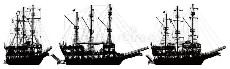 Voilier de bateau de pirate Ensemble de vecteur de silhouette illustration de vecteur