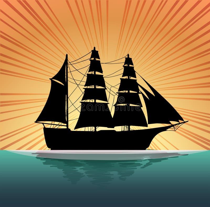 Voilier de silhouette sur la mer illustration de vecteur