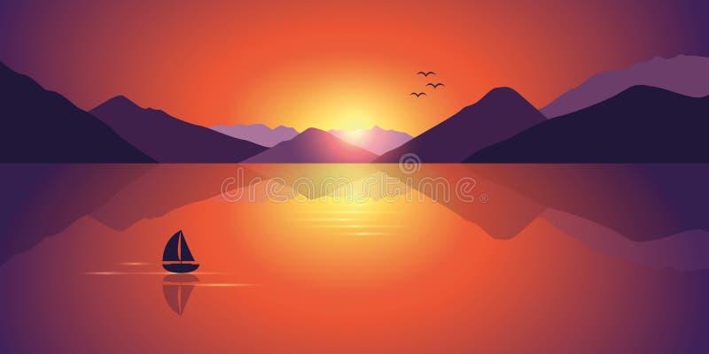 Voilier isolé sur une mer calme avec un beau Mountain View à illustration libre de droits