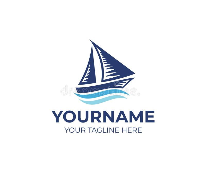 Voilier sur le calibre de logo de vagues Conception de déplacement de vecteur de bateau et de croisière illustration stock