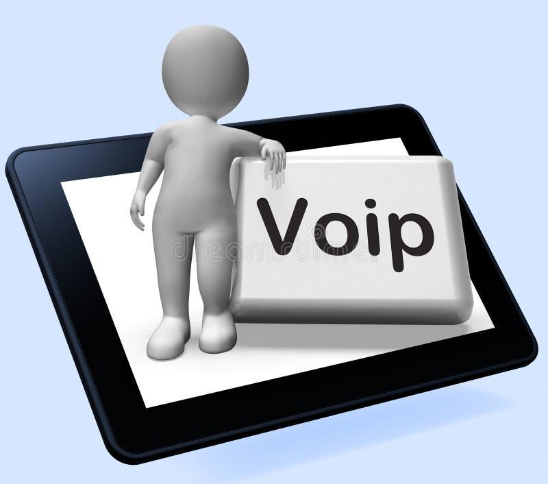 Voip有字符的按钮片剂意味在赞成互联网的声音 向量例证