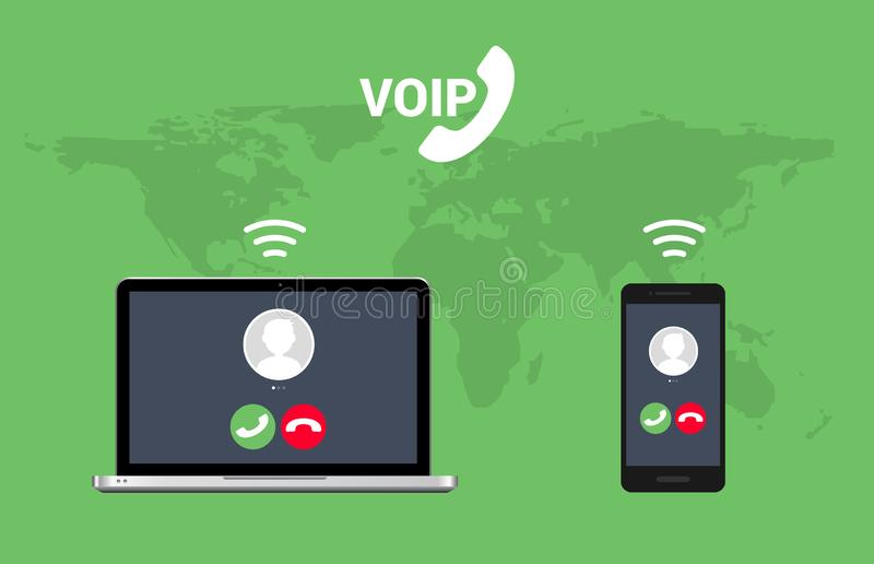 Voip call system voice phone technology. Voice over ip internet video telephony data cloud laptop and mobile cellphone.  royalty free illustration