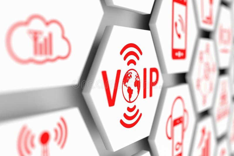 VOIP concept. Cell blurred background 3d illustration royalty free illustration