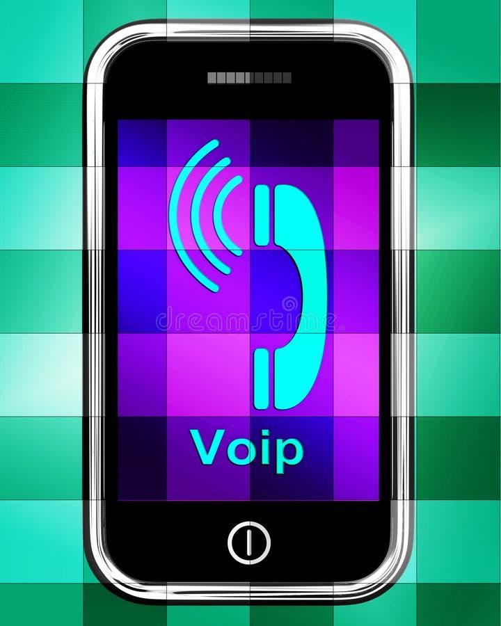 Voip en el teléfono exhibe voz sobre el protocolo IP o IP Teleph stock de ilustración