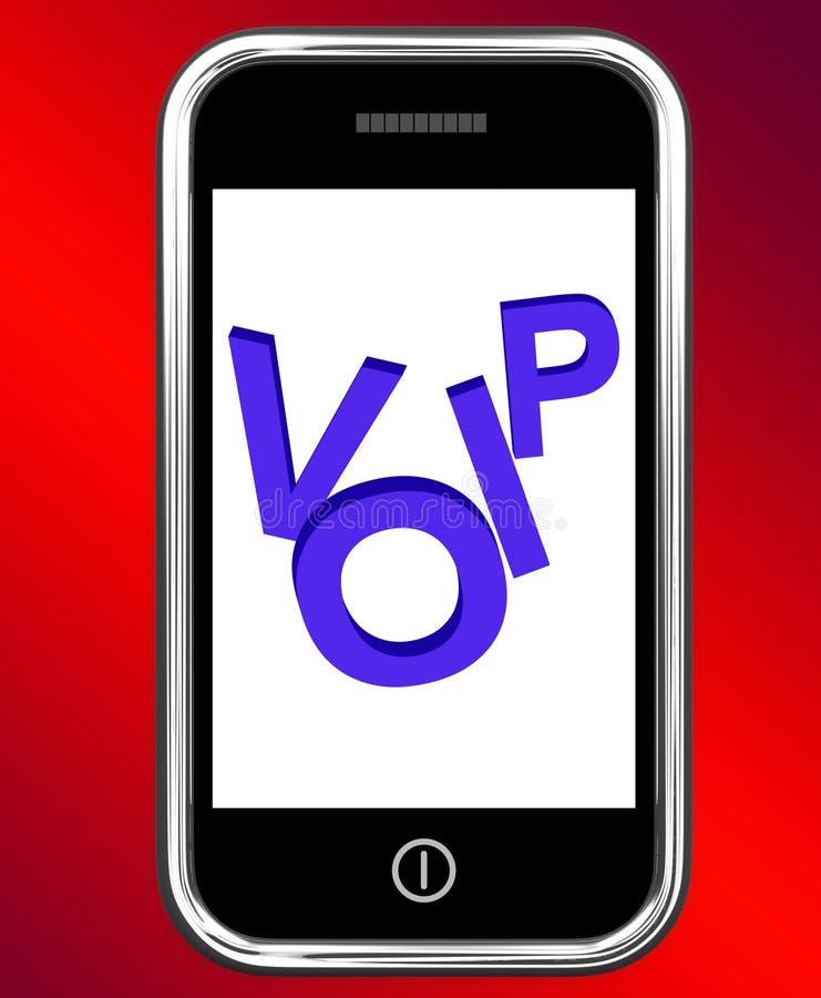Voip en el teléfono muestra voz sobre protocolo IP ilustración del vector