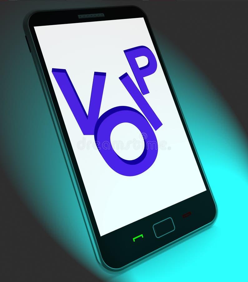Voip en móvil muestra voz sobre el protocolo IP o IP Telephon stock de ilustración