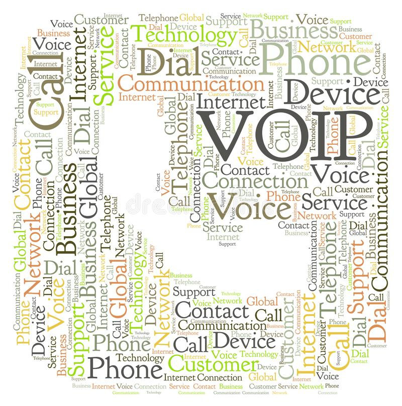 VOIP en una forma de la nube de la palabra del teléfono ilustración del vector