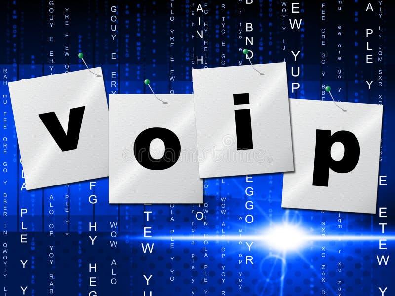 Voip-Kommunikation stellt Internet-Telefonie dar und steht in Verbindung lizenzfreie abbildung