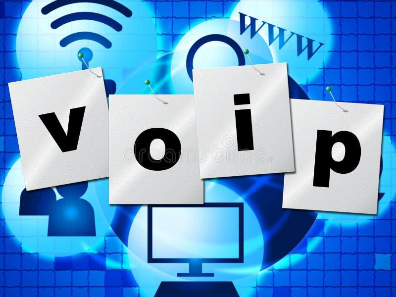 Voip-Kommunikation zeigt Stimme über Breitband und Chat stock abbildung