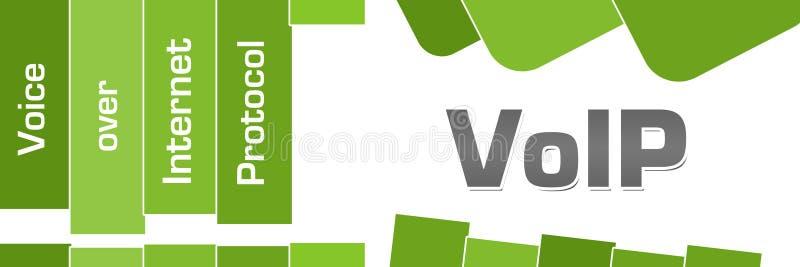 VoIP - la voz sobre verde del protocolo IP raya el texto stock de ilustración