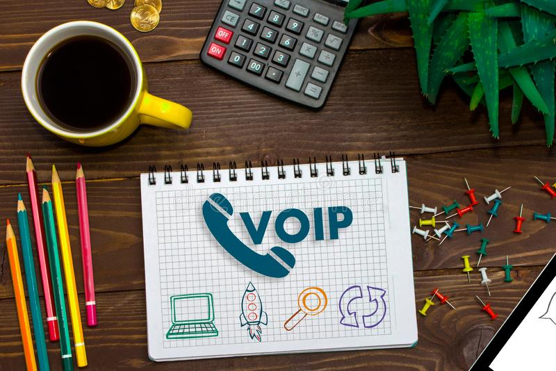 VOIP Office Communication Social Network Concept. Voice over IP - phone internet call technology stock photography