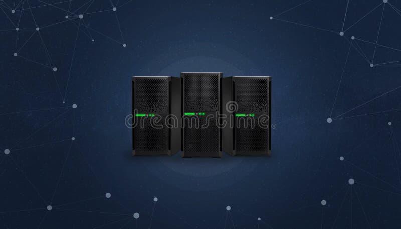 VoIP serveror som omges med begrepp för trådar för kommunikationsnätverk arkivbilder
