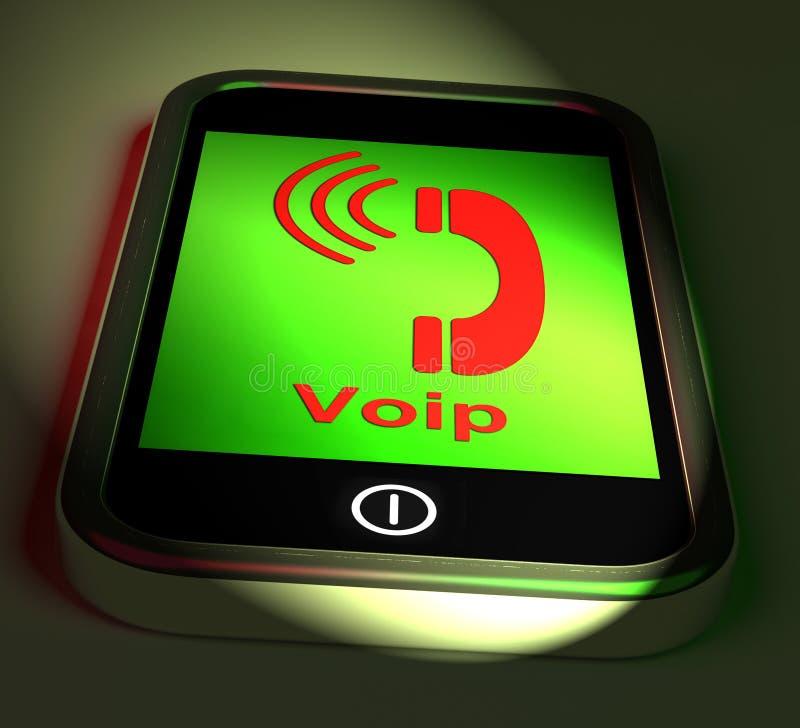 Voip sul telefono mostra la Voice over Internet Protocol ed il IP Telephon royalty illustrazione gratis