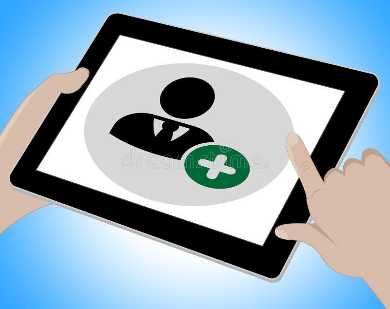 Voip-Tablet zeigt Stimme über Breitband und Computer an stock abbildung