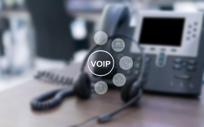 VOIP and telecommunication concept,IP Phone connecting to other VOIP device stock illustration