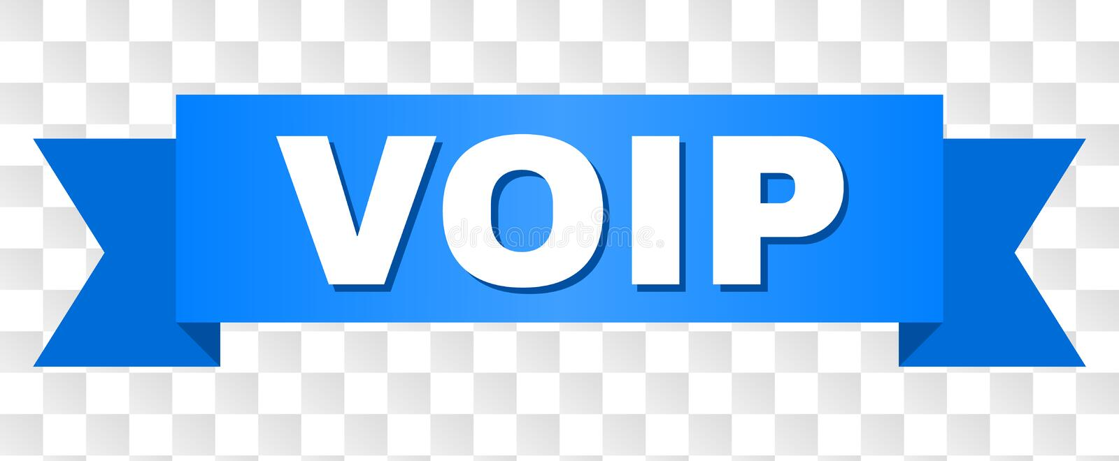 Blue Tape with VOIP Text. VOIP text on a ribbon. Designed with white caption and blue tape. Vector banner with VOIP tag on a transparent background vector illustration