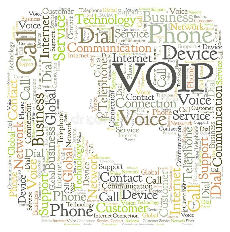 VOIP in una forma della nuvola di parola del telefono illustrazione vettoriale