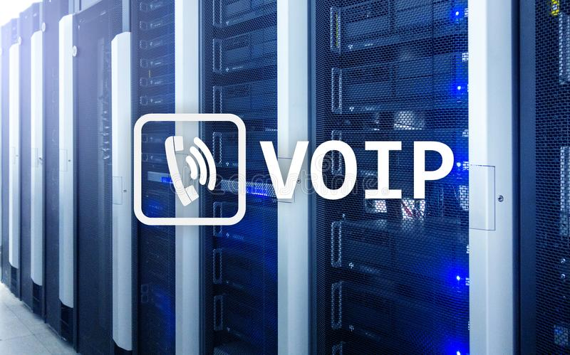 VOIP, Voice over Internet Protocol, technology that allows for speech communication via the Internet. Server room background.  royalty free stock photos