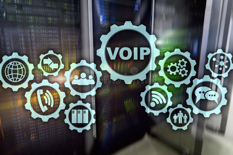 VoIP Voice over IP on the screen with a blur background of the server room. The concept of Voice over Internet Protocol vector illustration