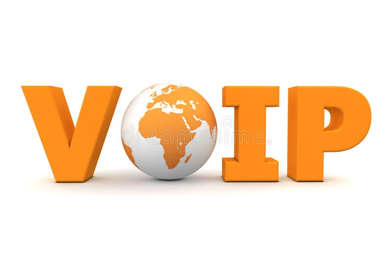 VoIP World Orange. Orange word VoIP with 3D globe replacing letter O