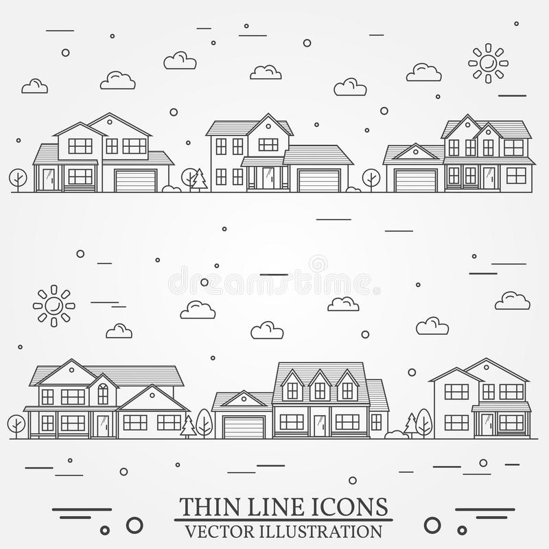 Voisinage avec des maisons illustrées sur le blanc illustration stock