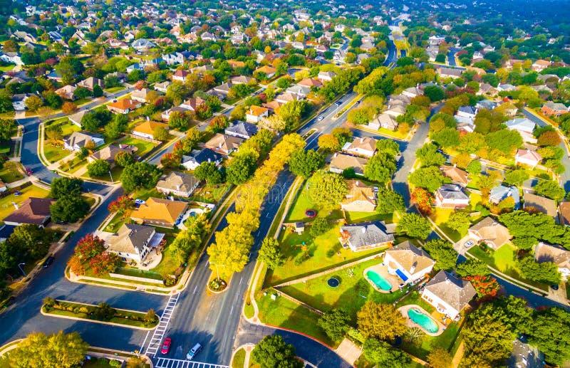 Voisinage suburbain en dehors d'Austin Texas Aerial View photos libres de droits