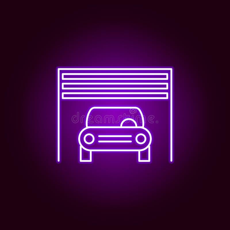 voiture à l'intérieur d'icône d'ensemble de garage dans le style au néon Éléments d'illustration de réparation de voiture dans l' illustration libre de droits
