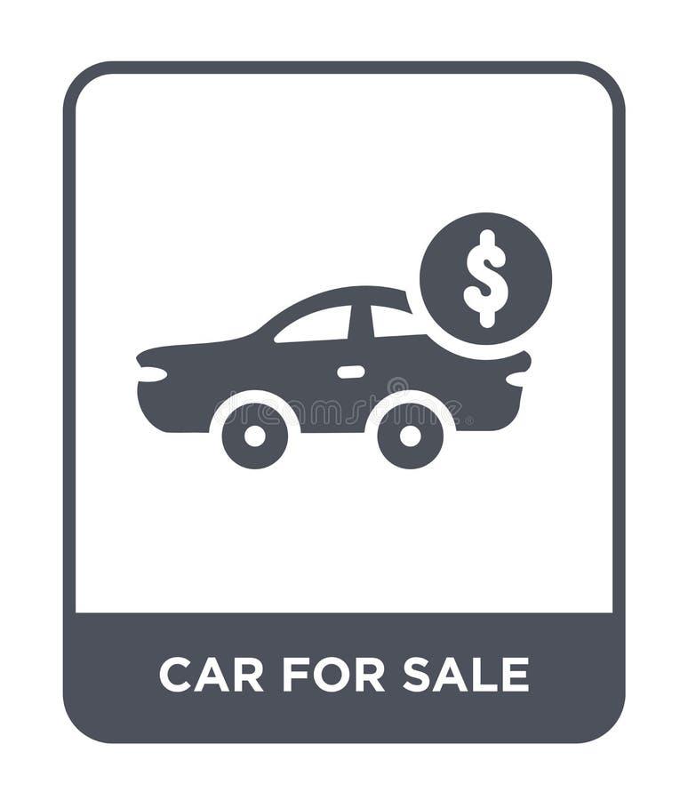 voiture à vendre l'icône dans le style à la mode de conception voiture à vendre l'icône d'isolement sur le fond blanc voiture à v illustration de vecteur