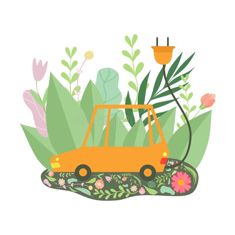 Voiture électrique écologique entourée par l'herbe verte et les fleurs, protection de l'environnement, vecteur de concept d'écolo illustration libre de droits