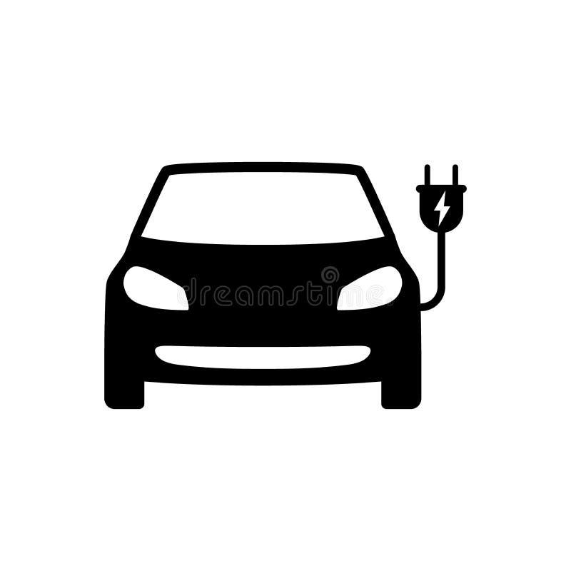 Voiture électrique avec l'icône de noir de prise Symbole de voiture électrique illustration stock