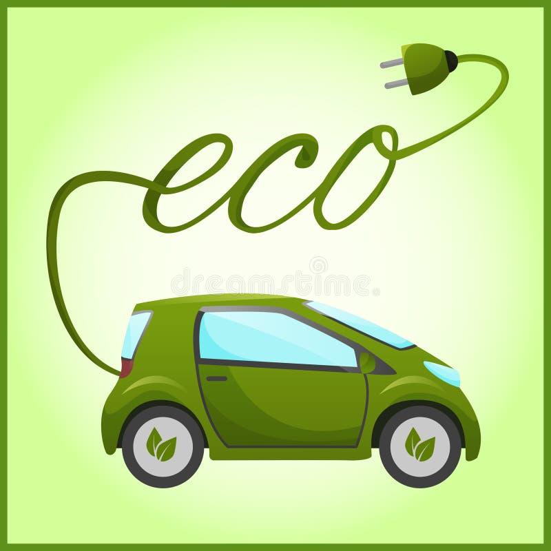 Voiture électrique avec la conception d'eco illustration libre de droits