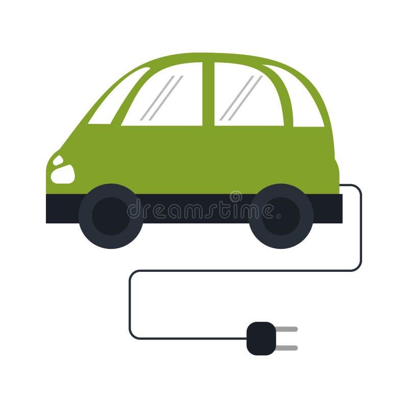 Voiture électrique avec le fil et la prise illustration de vecteur