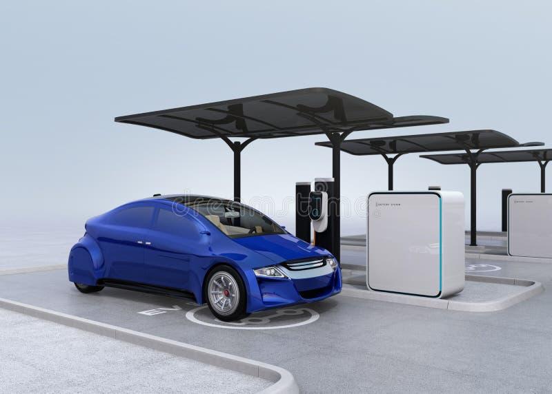 Voiture électrique bleue dans la station de charge d'EV illustration libre de droits
