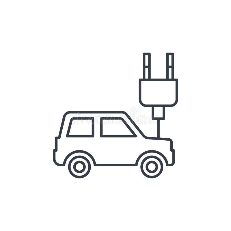 Voiture électrique, câble de prise, ligne mince icône d'écologie Symbole linéaire de vecteur illustration de vecteur