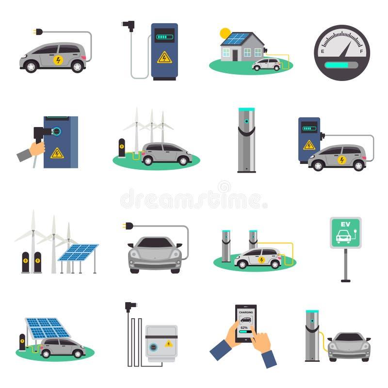 Voiture électrique chargeant les icônes plates réglées illustration libre de droits