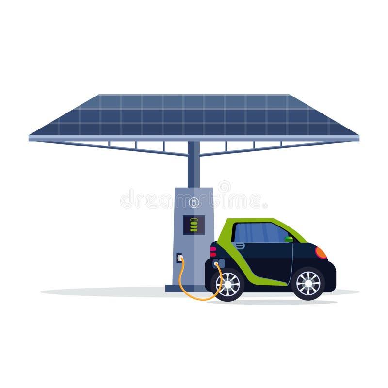 Voiture électrique chargeant sur la station de charge électrique du transport propre de technologies renouvelables d'eco de panne illustration stock