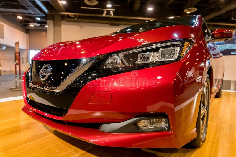 Voiture 2018 électrique de nouvelle FEUILLE de Nissan image stock